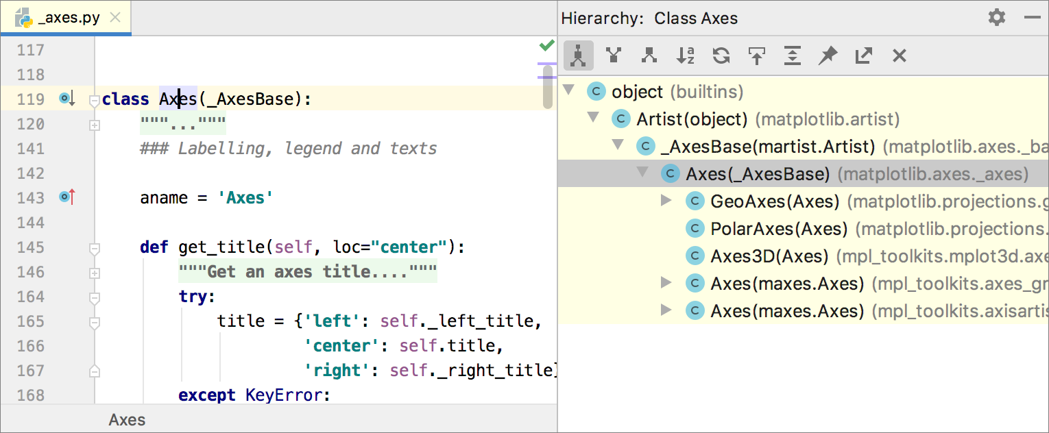 Class hierarchy shown in the Hierarchy Tool Window
