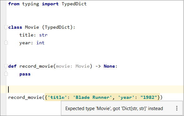 Type validation for the TypedDict class