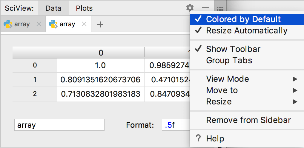 Data view tables are colored by default