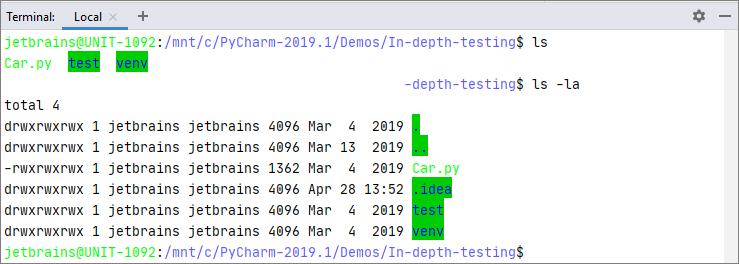 Terminla in WSL configurations