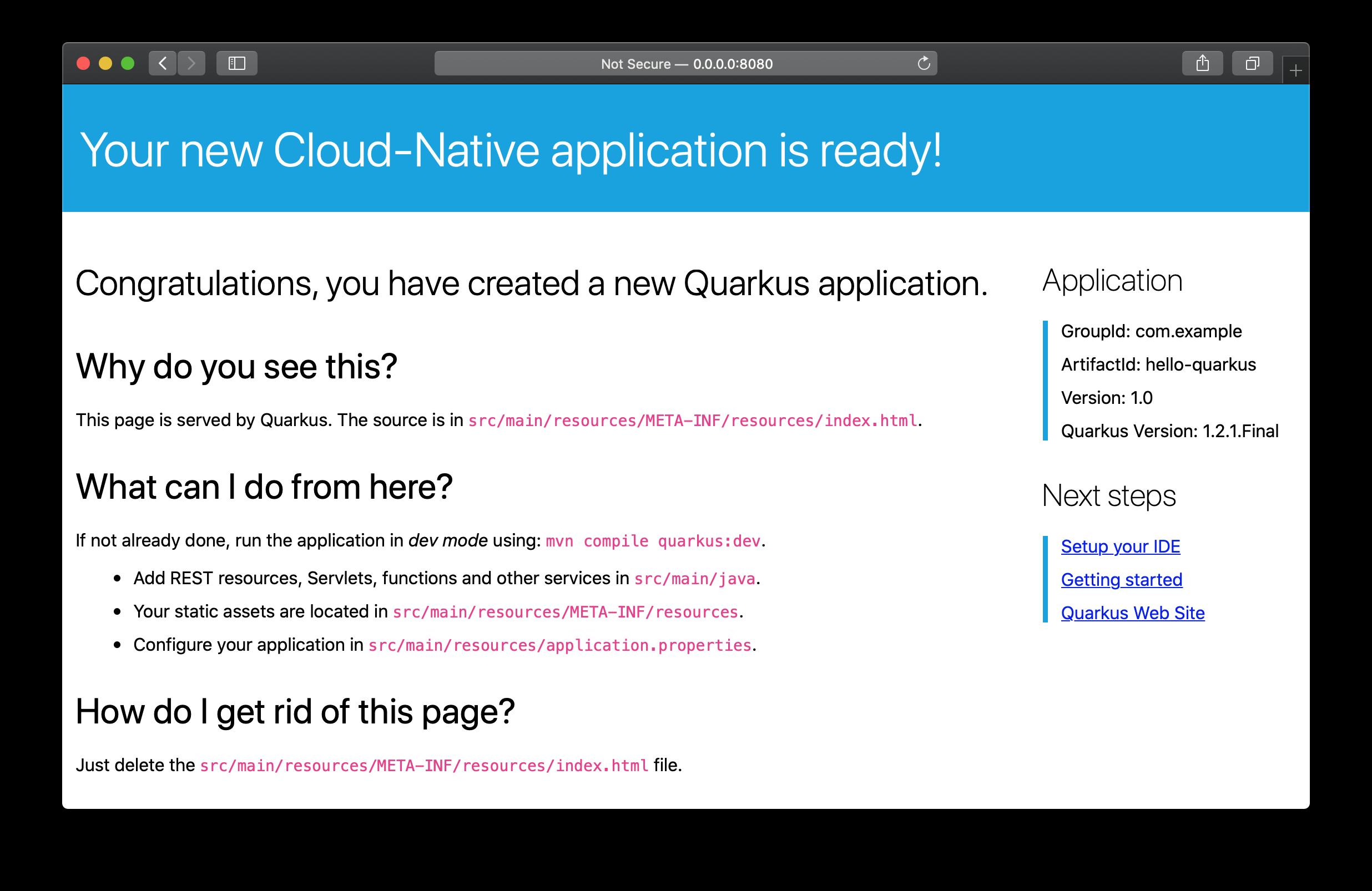 Quarkus application start page