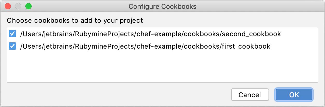 Configure Cookbooks dialog