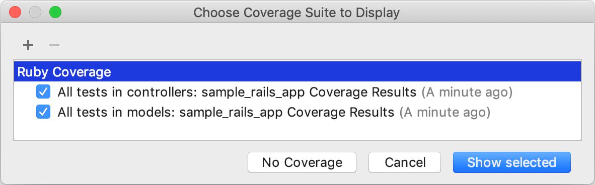 Choose Coverage Suite to Display