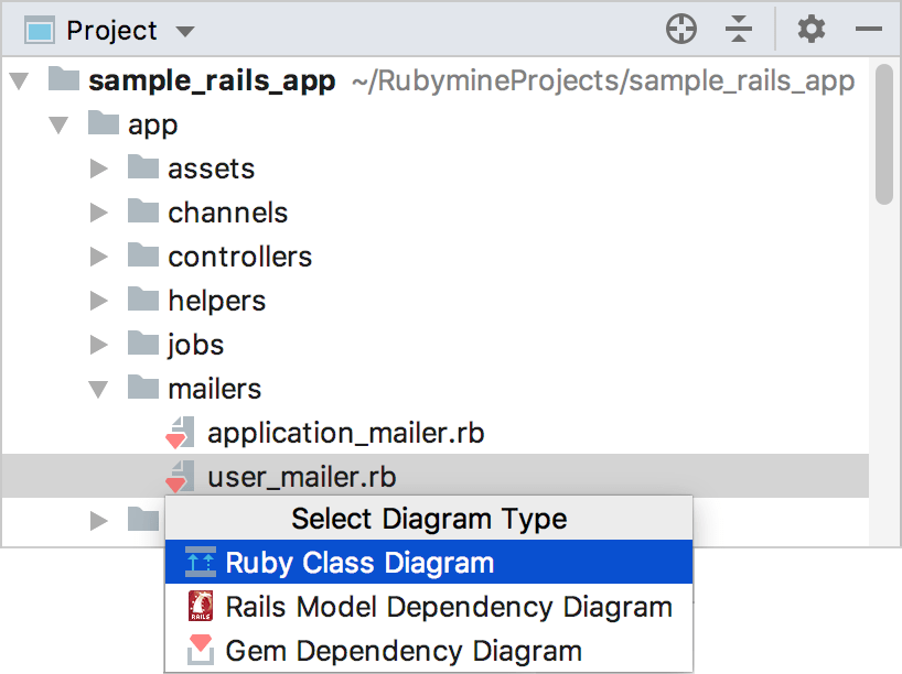 diagram popup in a project view