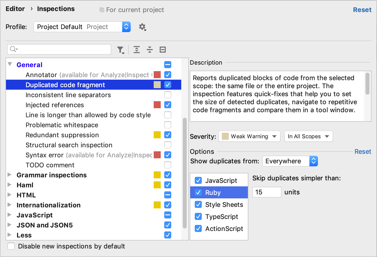 Duplicated Code Fragment inspection settings