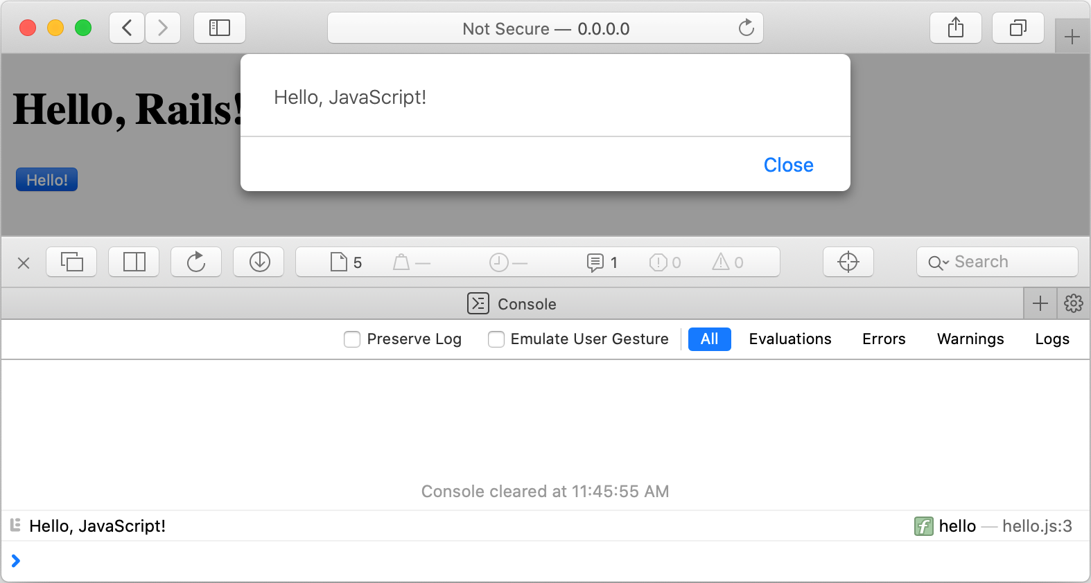 rm new js browser click