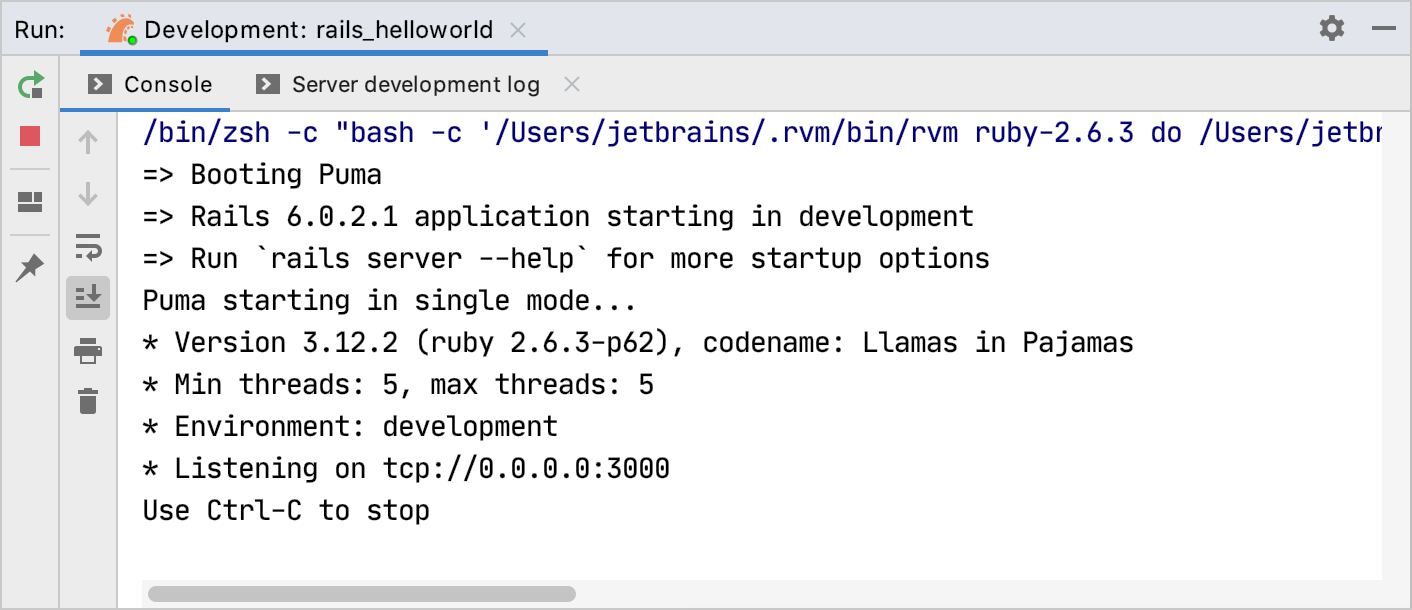 Rails server output