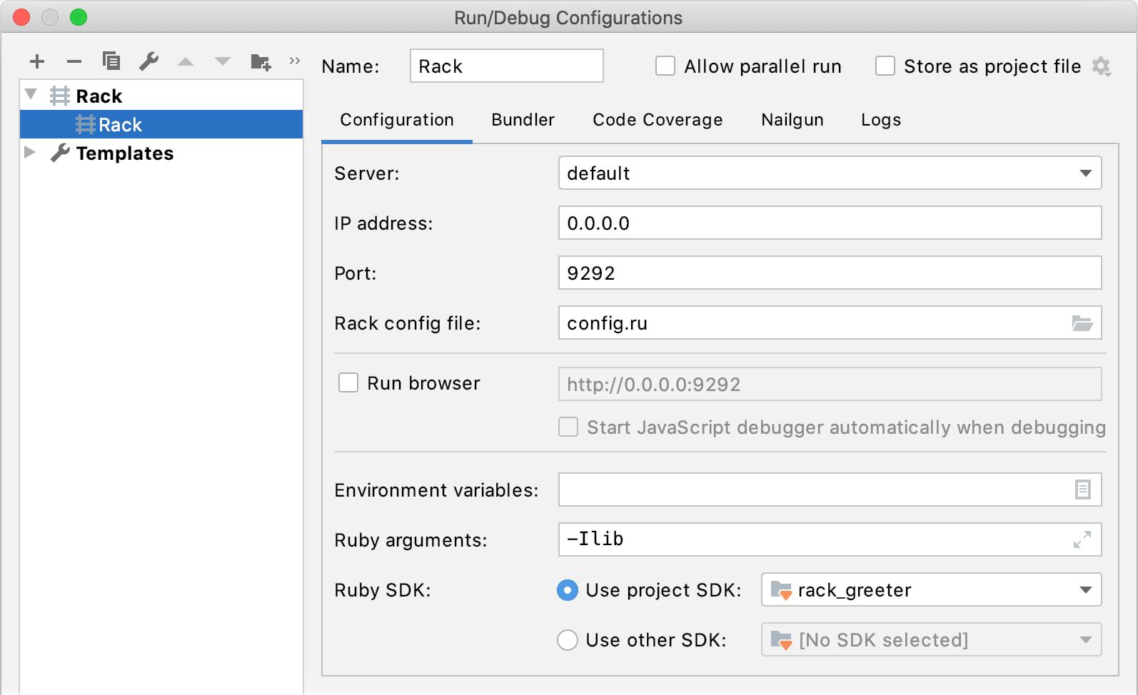 Run/Debug Configuration: Rack