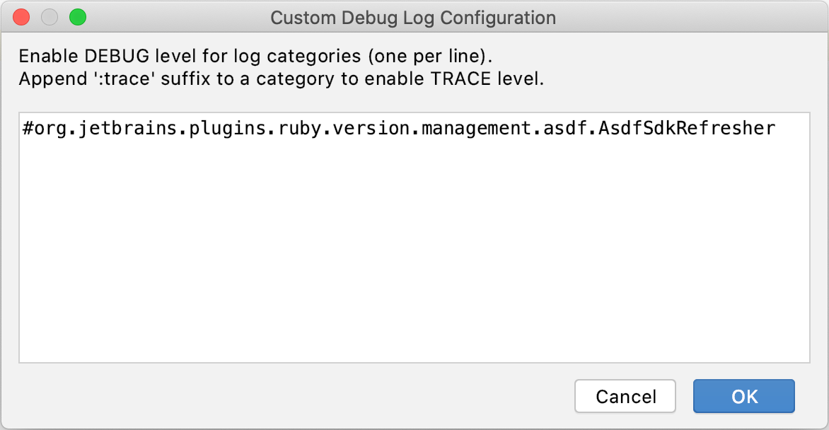 Custom Debug Log Configuration dialog