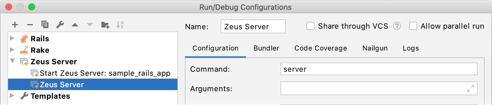 Run/Debug Configuration Zeus