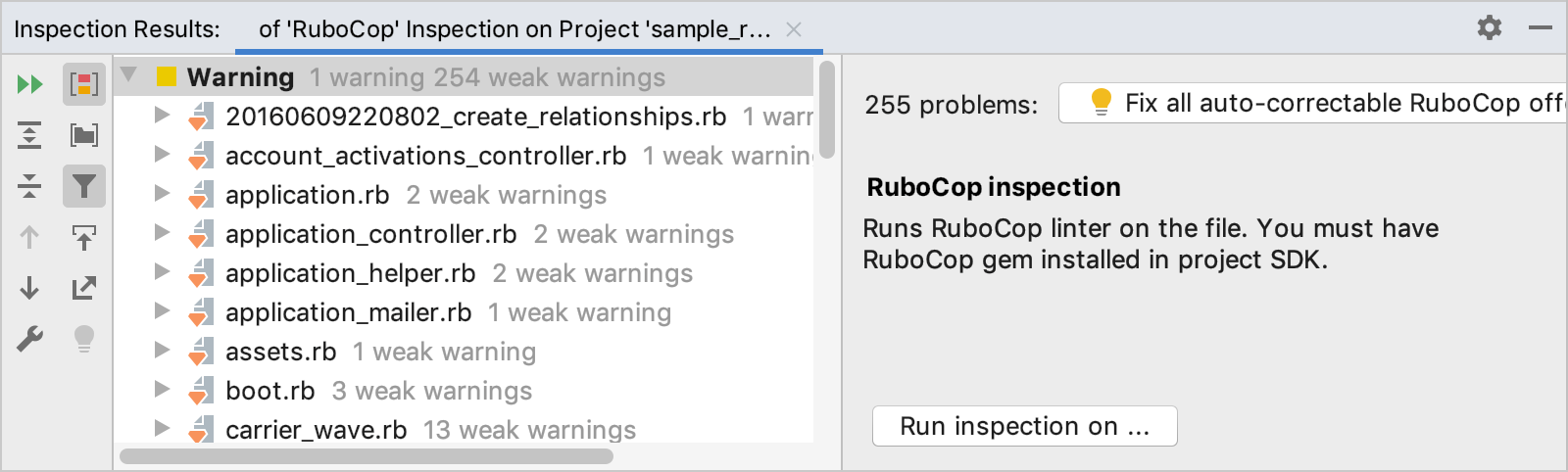 RuboCop inspection results