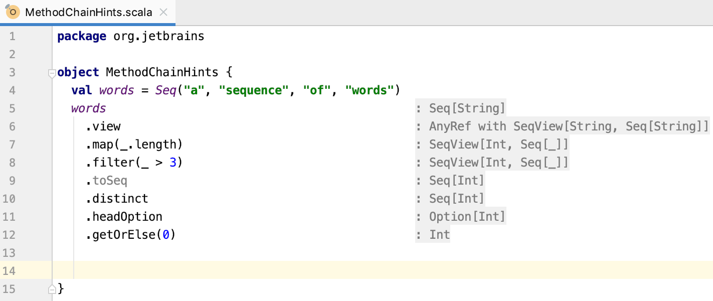 Inlay hints for Scala method chains