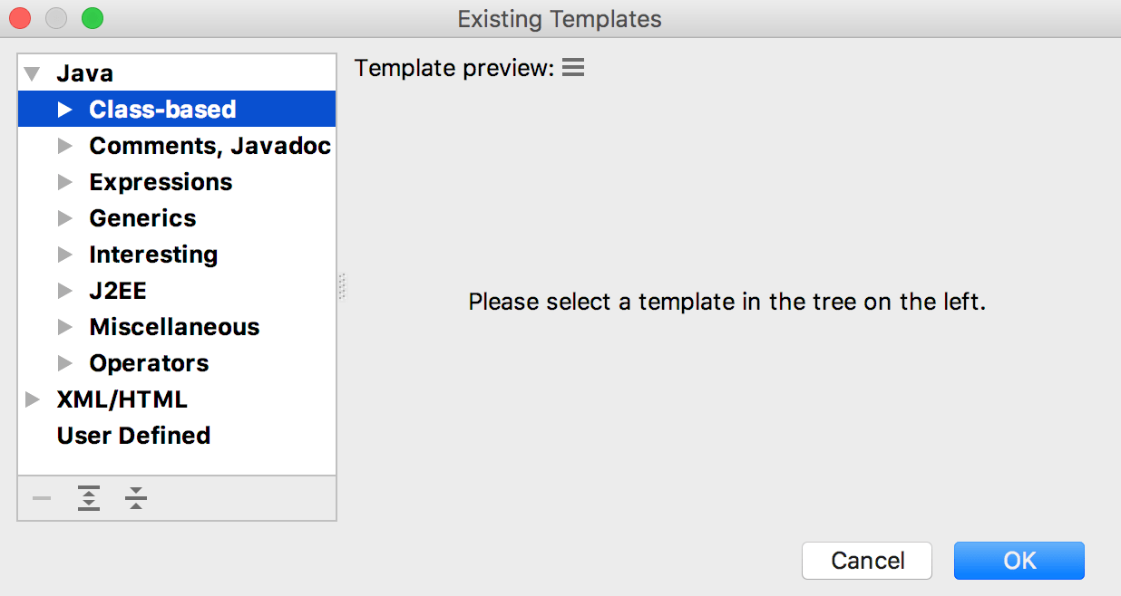 Search templates dialog