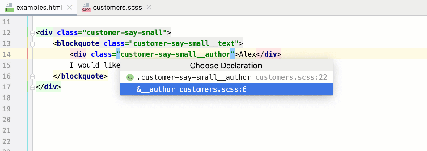 Navigation for SCSS selectors