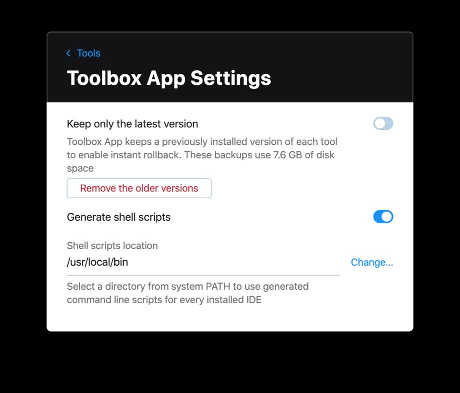 Toolbox App Settings
