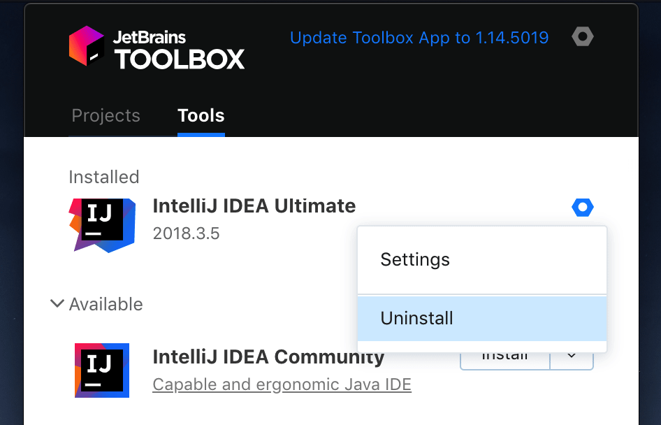 Uninstall IntelliJ IDEA using the Toolbox App
