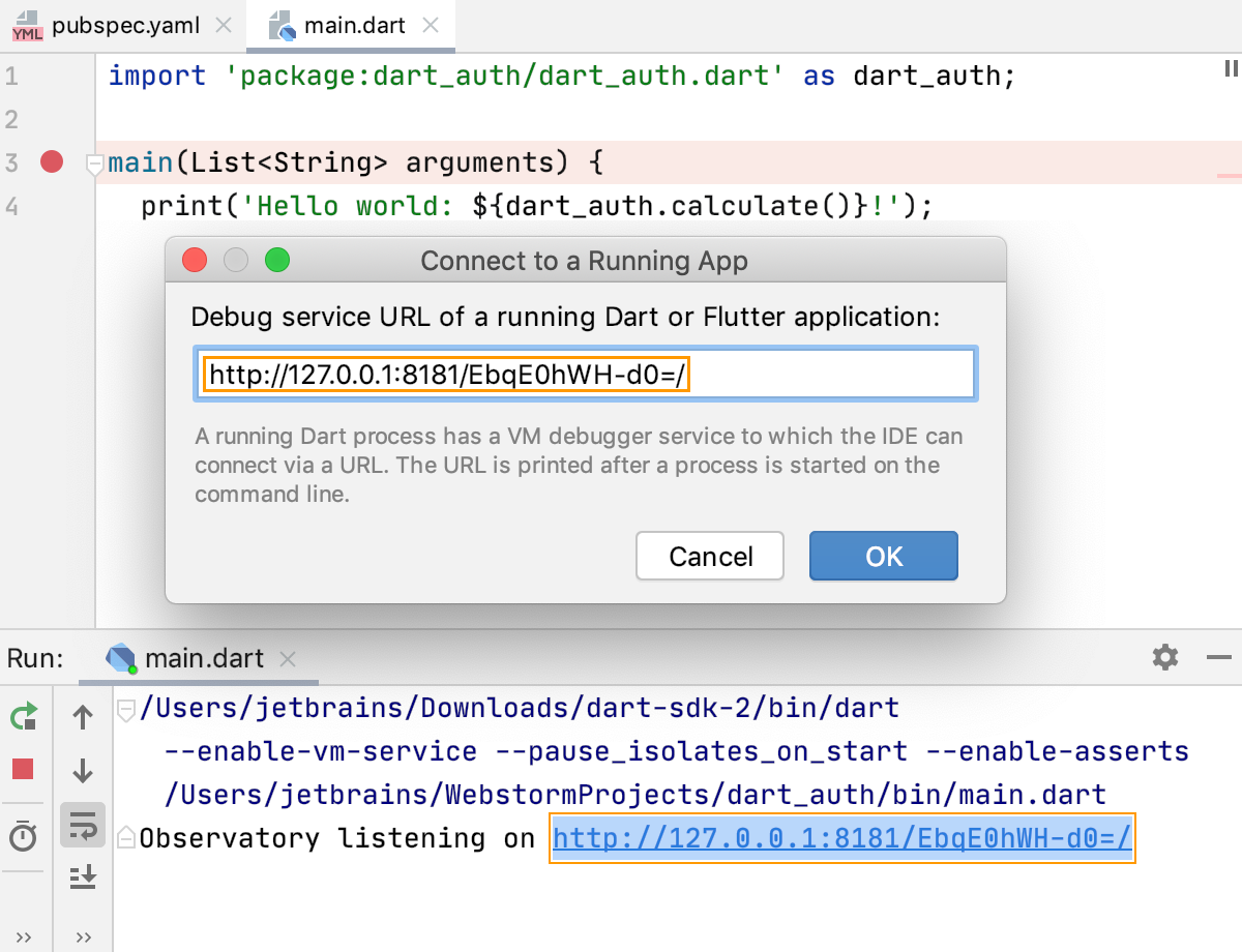 Dart: remote debugging. Paste URL and token