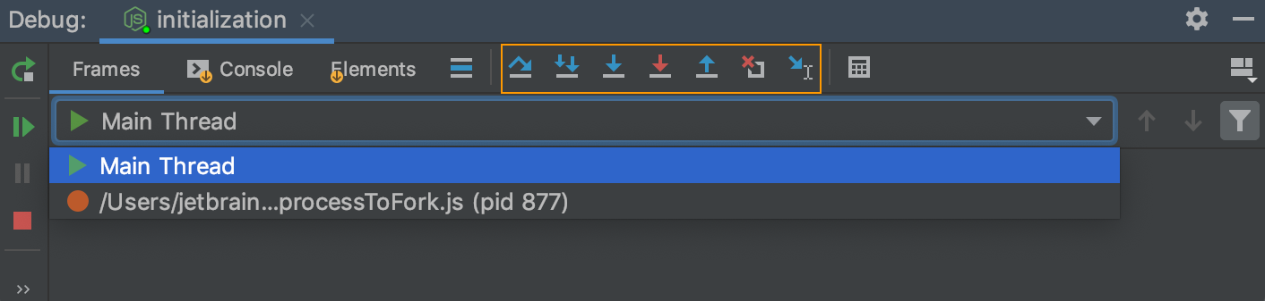 Debug tool window: stepping buttons on the toolbar