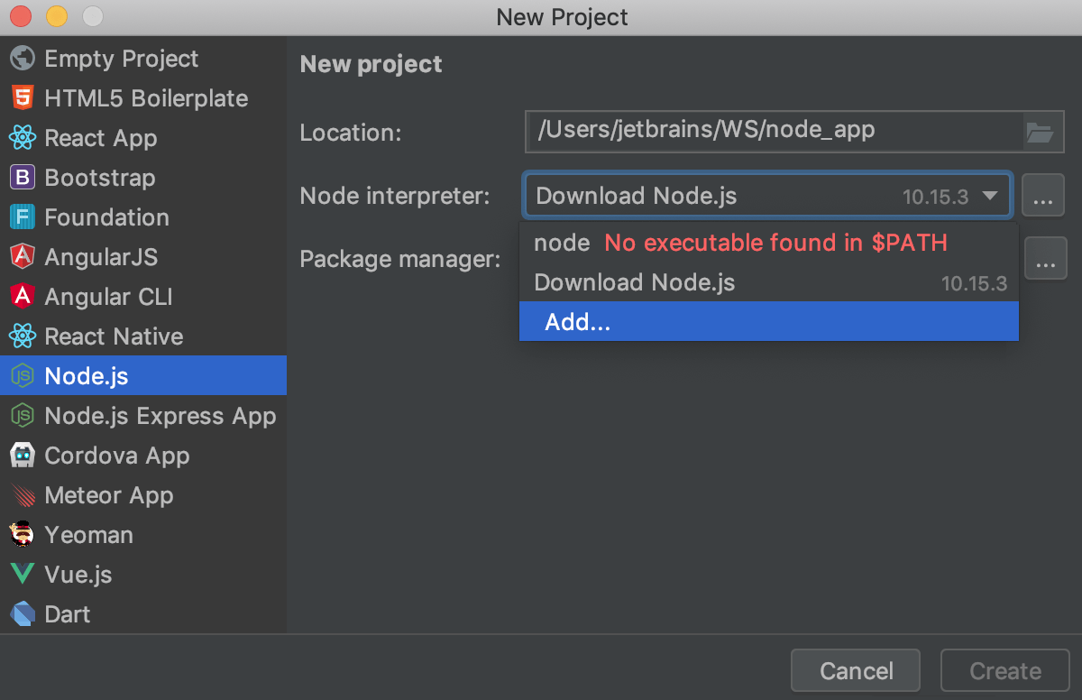 Installing Node.js during project creation in the Create Project dialog