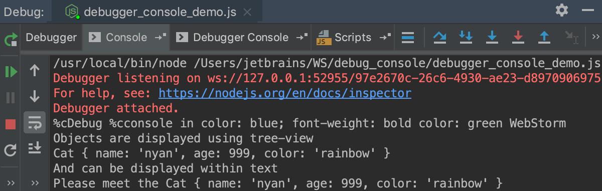 Node.js debugging: Console tab
