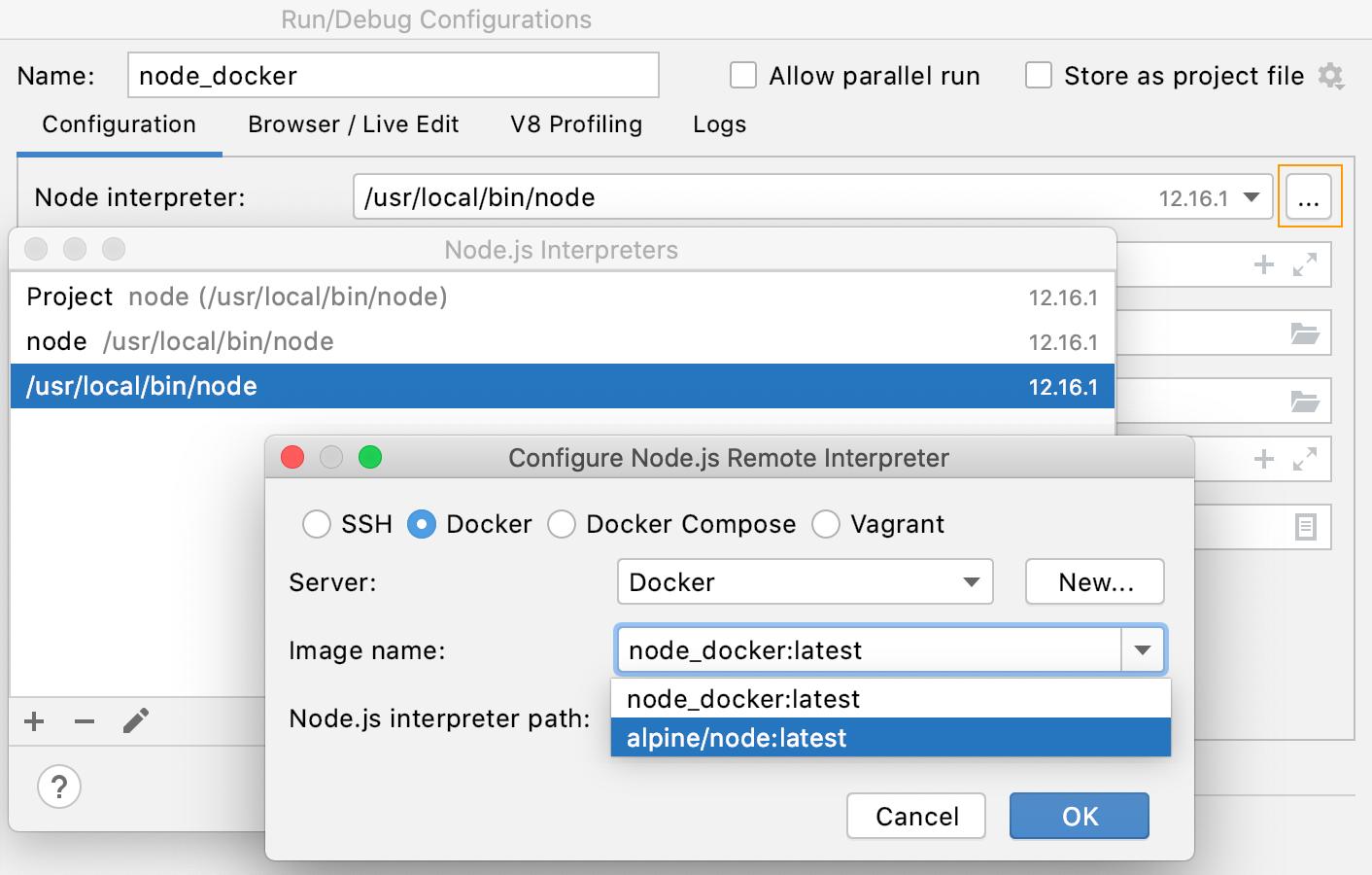 Open the Node.js Interpreters dialog from Node.js run configuration