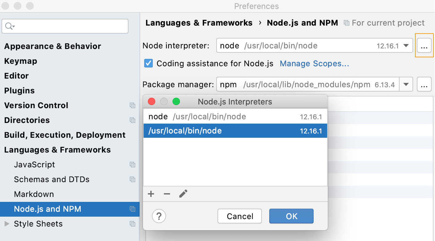 Open the Node.js Interpreters dialog from Settings
