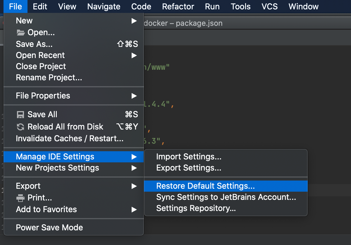 Restore IDE defaults