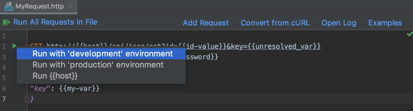 Running a request in environment