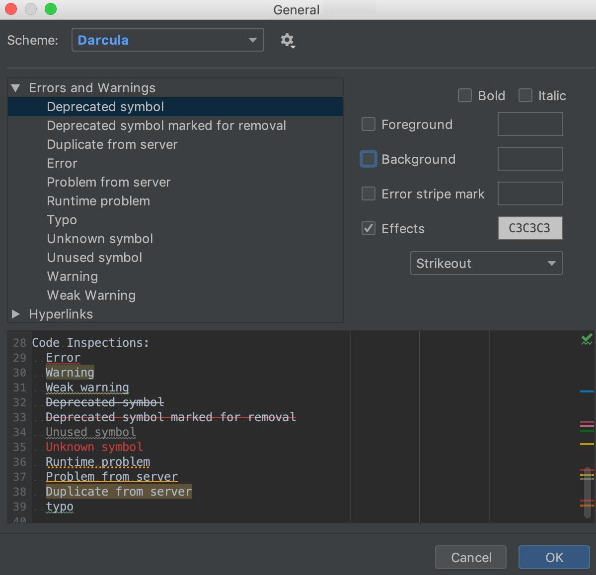 Changing error highlighting