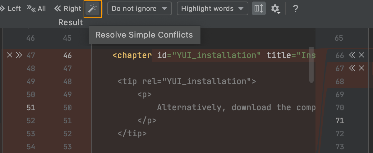 the Resolve simple conflicts toolbat button
