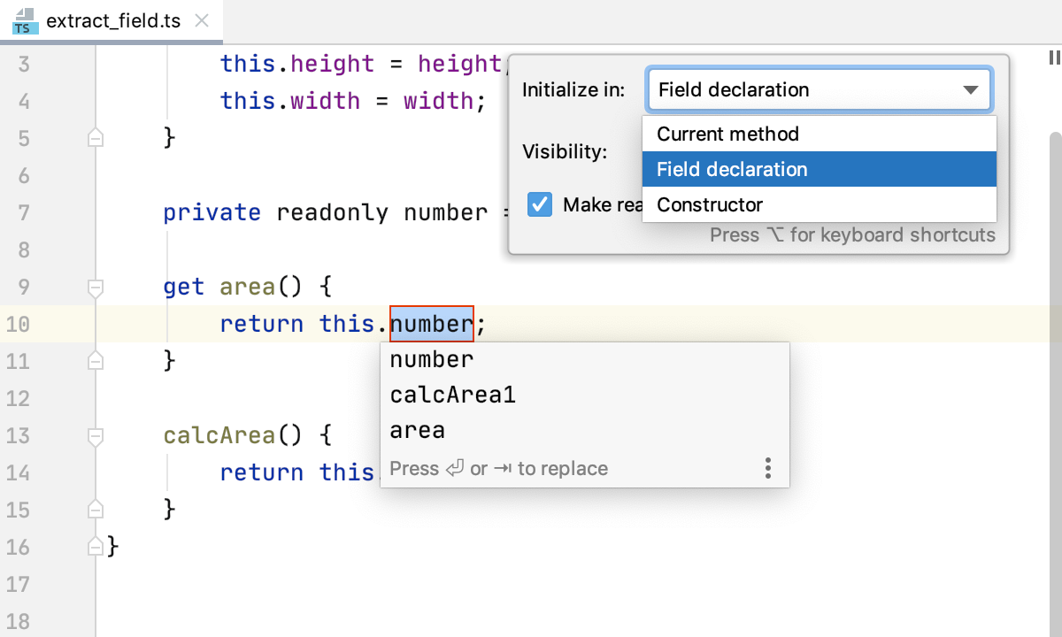 Extract field in TypeScript: choose initialization