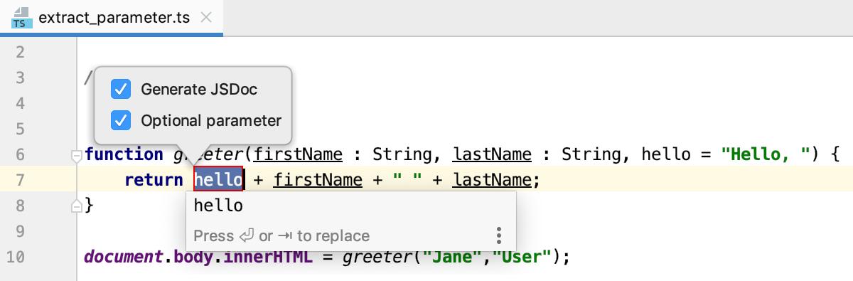 Introduce Parameter popup