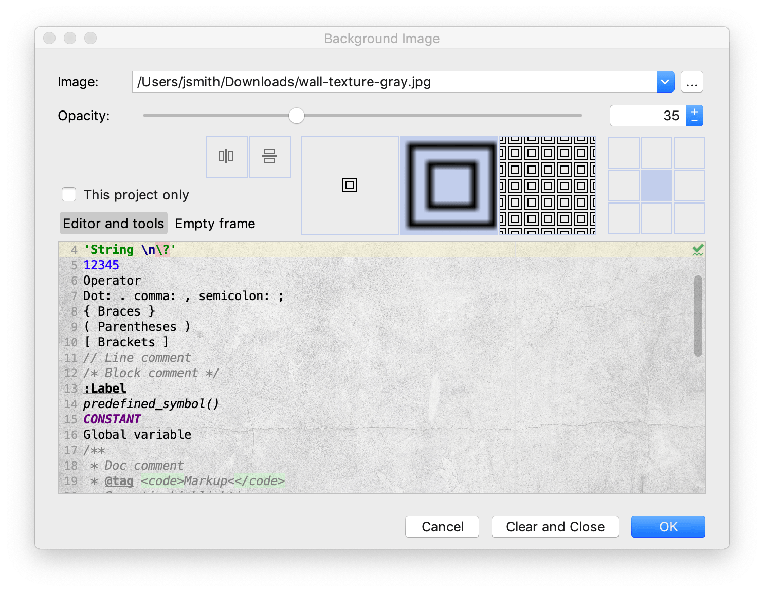 The Background Image dialog