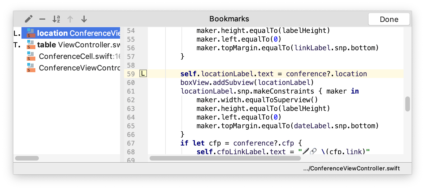 Bookmarks dialog