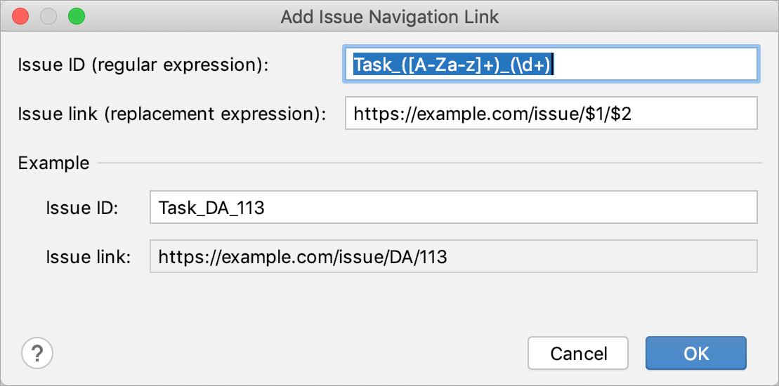 Add Issue Navigation Link dialog