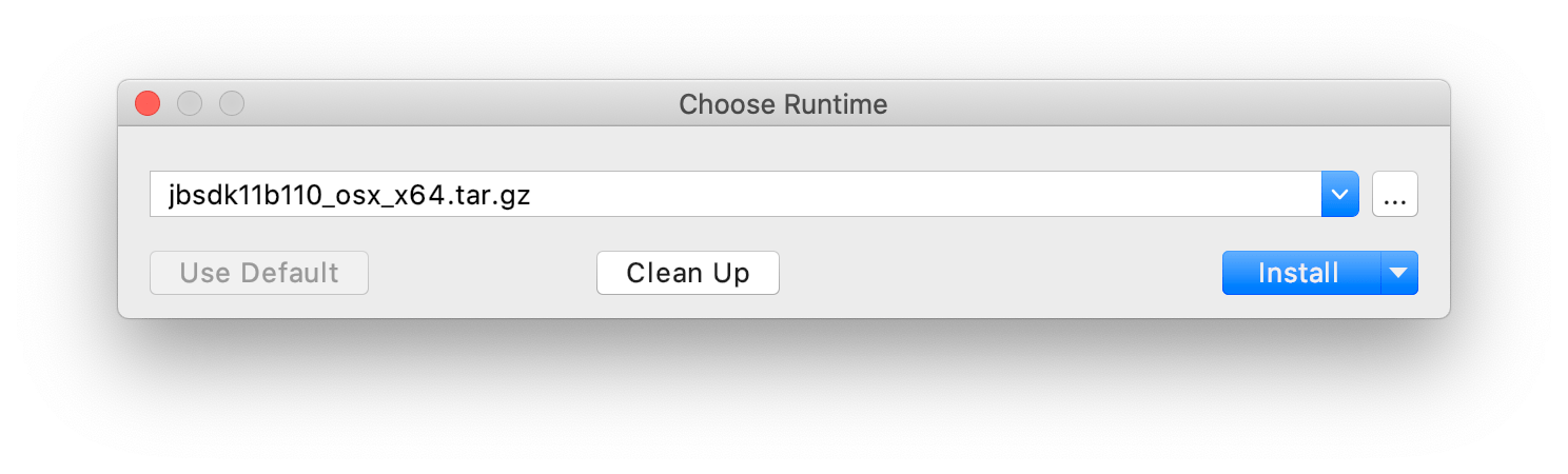 The Choose Runtime dialog with a remote JetBrains Runtime build selected