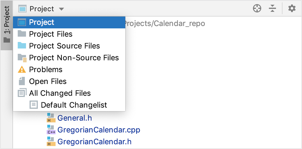 The Project tool window with the Group Tabs option disabled