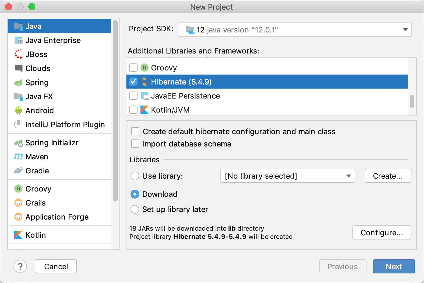 Creating a new Hibernate project