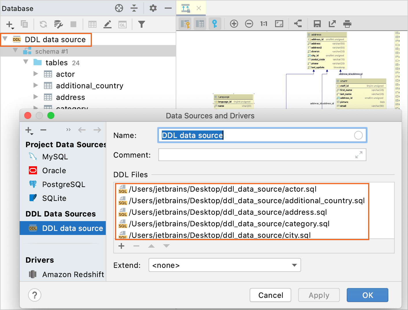 Create a DDL data source