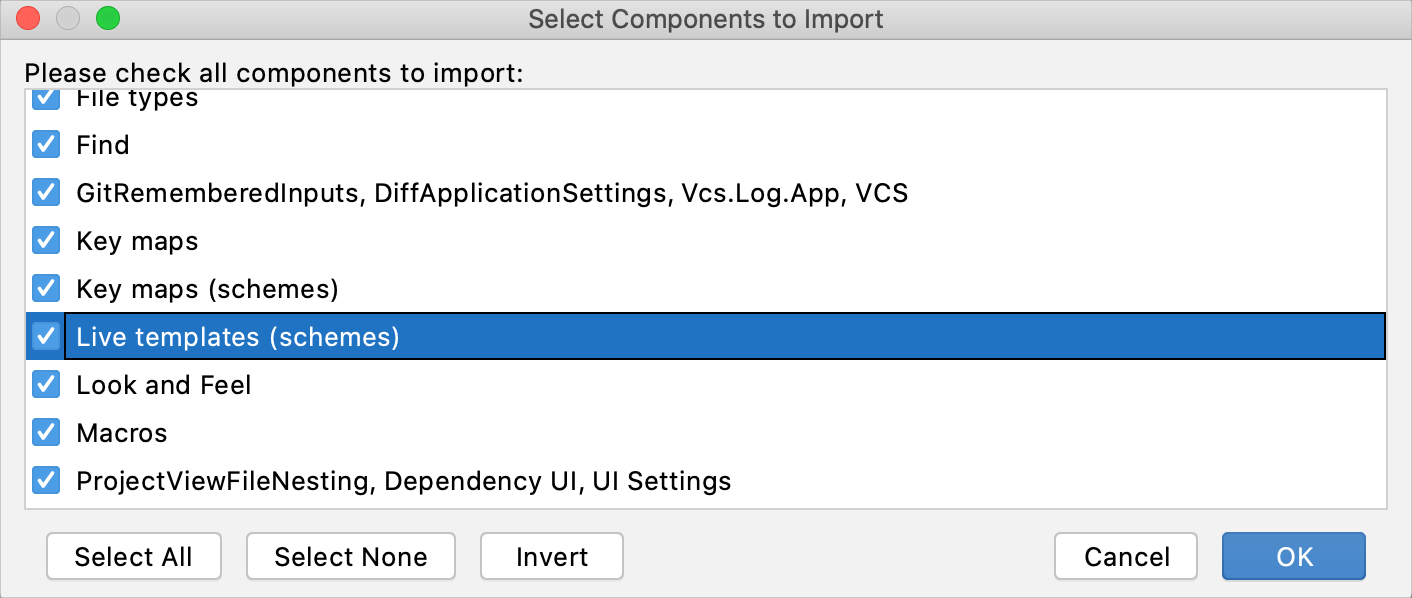 Import live templates