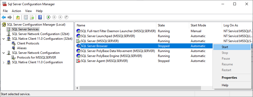 Run the SQL Server Browser