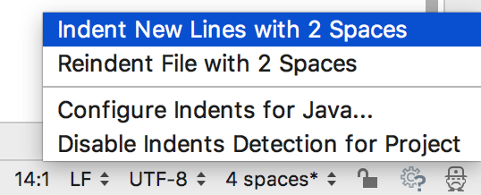 Status bar indents options
