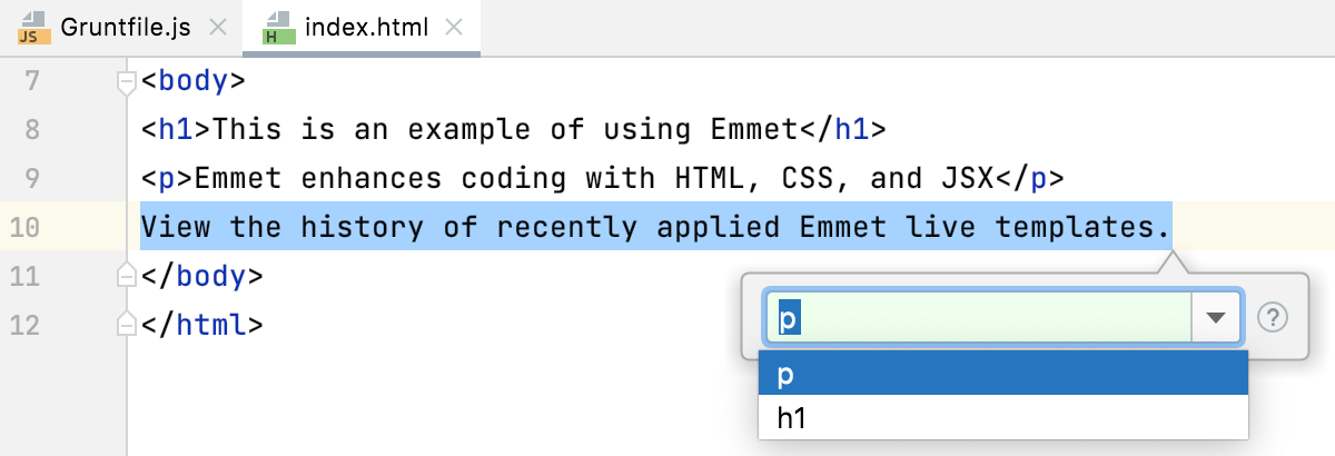 History of recently applied Emmet live templates