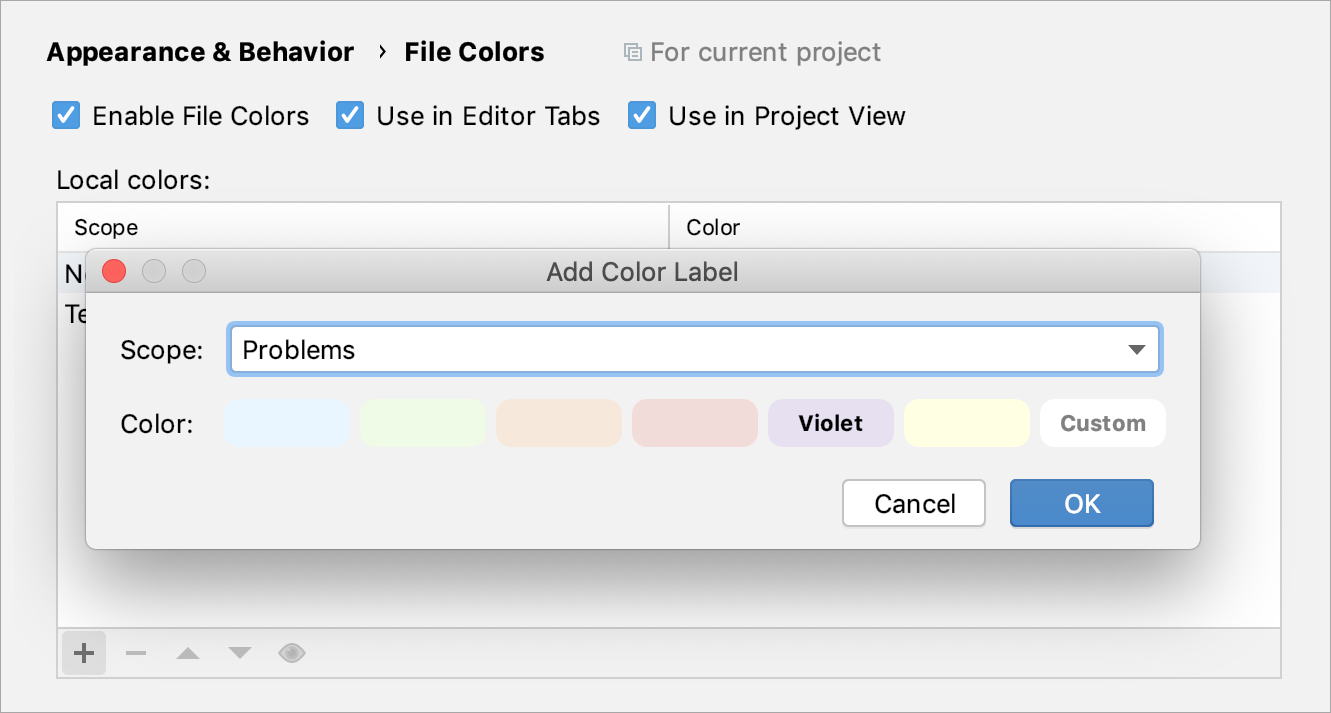 Creating a new color association