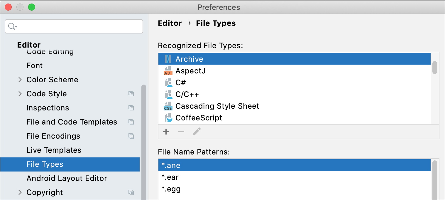 File type settings
