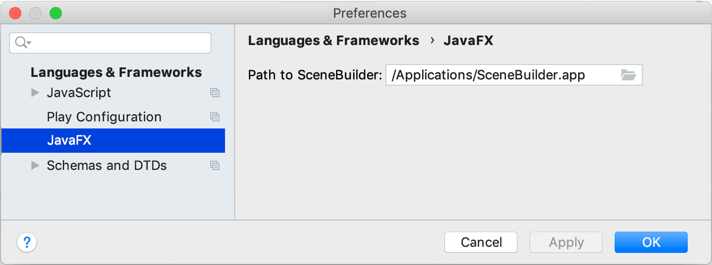 Specifying path to SceneBuilder