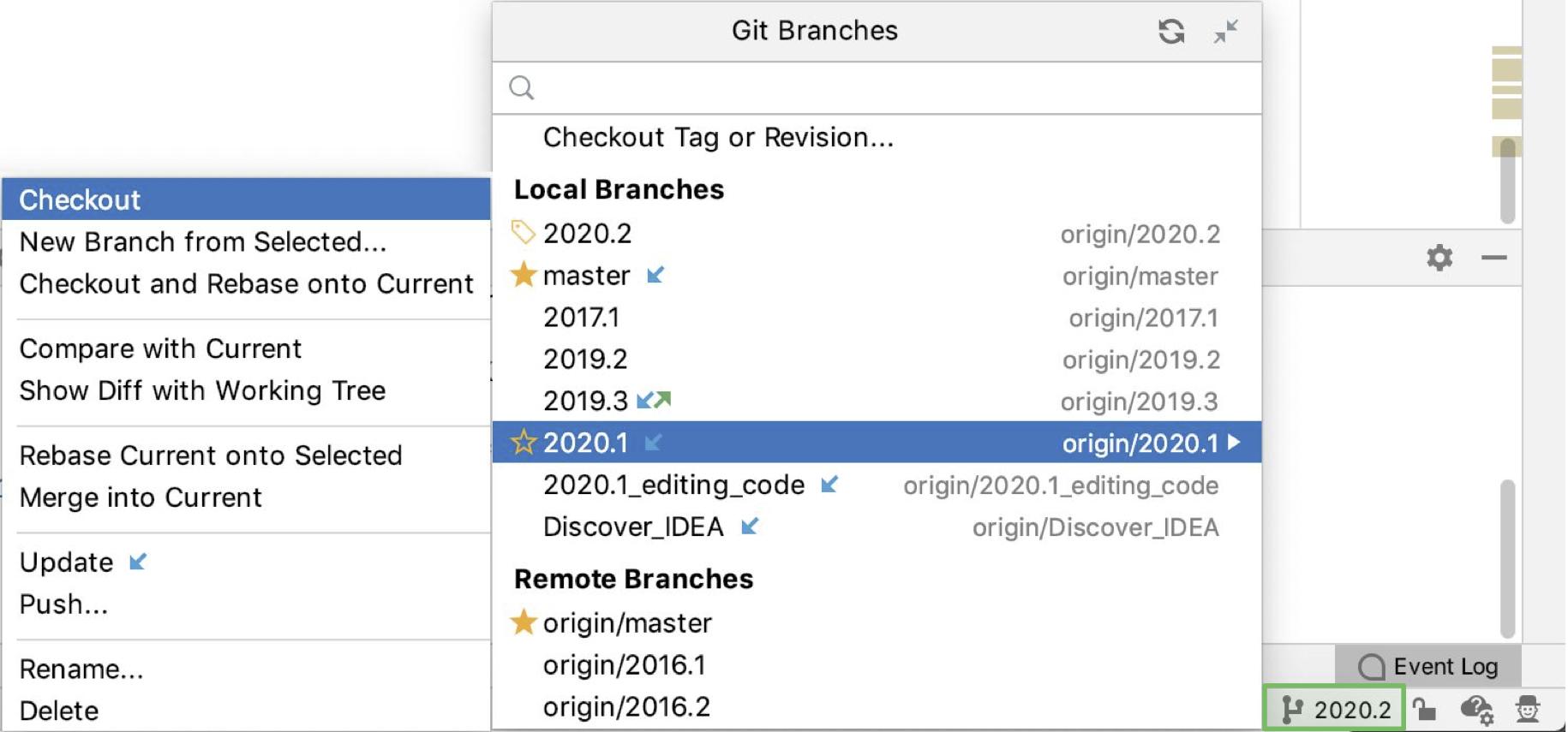 Manage Git branches - Help | IntelliJ IDEA