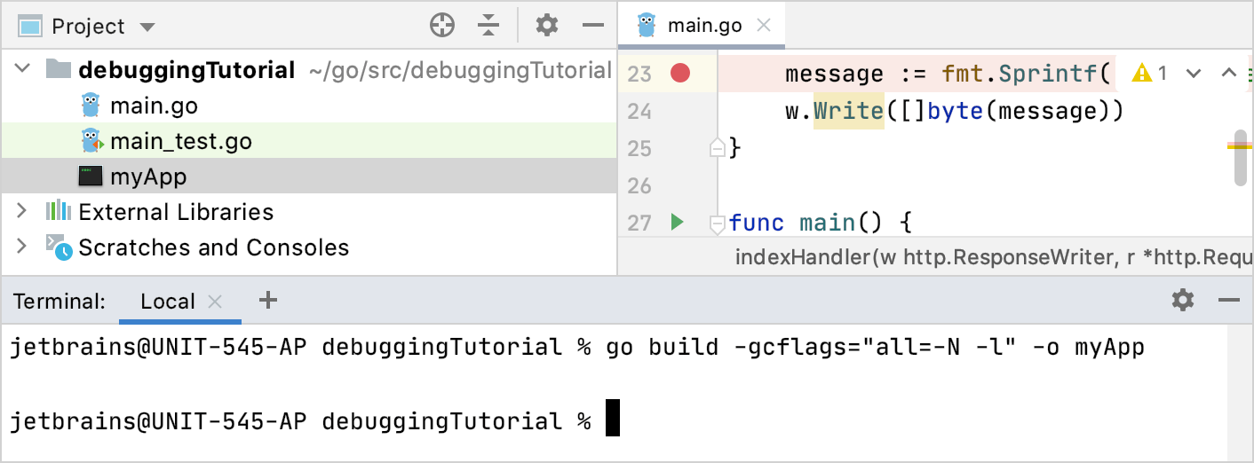 Build the application with gcflags flags for remote debugging