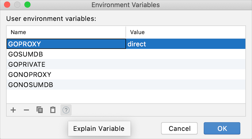 Introduce an environment variable in a new project