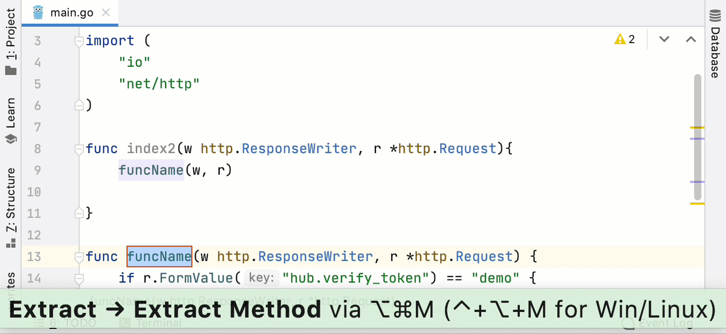 Improved behavior of the Extract Method refactoring